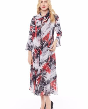 3/4 SLEEVES REVERSIABLE DRESS WITH SCARF - Q285 3004